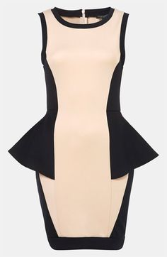 Topshop Colorblock Peplum Dress available at #Nordstrom