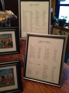 "Close-Up of Escort Card frames, left side.  Large plexi riser for back frames, smaller plexi riser in middle for a postcard frame.  End with ""S"" in the back, please, for the seating chart."