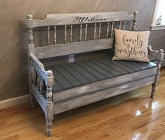Antique Maple Bench Repurposed from a full size bed. Painted with Annie Sloan pa. Antique Maple Be Bed Frame Bench, Headboard Benches, Full Bed Frame, Diy Bed Frame, Refurbished Furniture, Repurposed Furniture, Pallet Furniture, Furniture Projects, Furniture Makeover