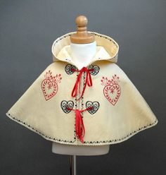 Baby felt cape - embroidered