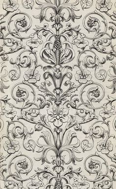 Turner and sons Baroque Print Pattern Motif Baroque, Baroque Pattern, Pattern Art, Pattern Design, Textile Prints, Textile Patterns, Print Patterns, Textiles, Fabric Wallpaper
