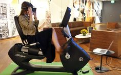 Virtual reality bike rides - 11 Amazing Things Found in the Hotel Room of the Future | Travel + Leisure