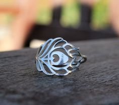 Sterling Silver Peacock Feather Ring Dainty Simple Peacock