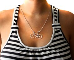 One of my favorite creators on Etsy..Handmade Sterling Silver Bike Necklace by RachelPfefferDesigns, $82.00