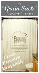 """The Cozy Old """"Farmhouse"""": Painter's Dropcloth Becomes DIY Grain Sack Shower Curtain"""