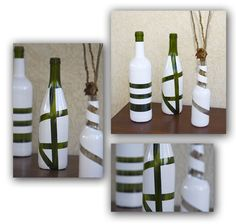 Wine Bottles taped & painted