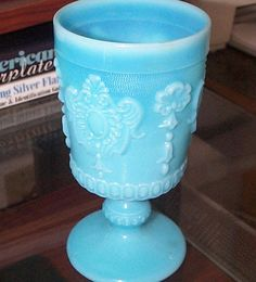 Image detail for -European Blue Milk Glass Lacy Goblet from meadowbrookantiques on Ruby ...