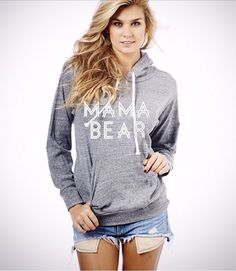 Medium light grey Mama+Bear+hoodie+sweatshirt.+sweatshirt.+Made+by+by+THINKELITE1