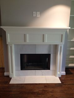 #Fireplace and #mantel in master #remodel #woodfloor #marble #interiordesign #homedecor