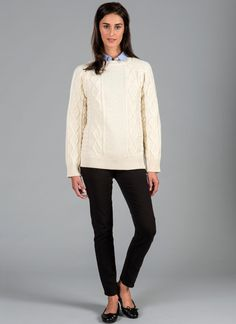 Colette Crew Neck Sweater - The Colette is a contemporary, fashionable crew sweater. Features include added length at the back for a flattering fit, an intricate mix of Aran stitches, ribbed knit cuffs and raglan style sleeves.