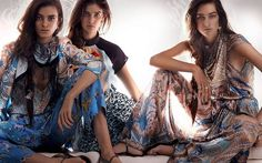Etro Spring/Summer 2014  - The Etro Spring/Summer 2014 campaign displays a highly illuminated set. Photographer Mario Testino took snapshots of models Joséphine Le Tut...