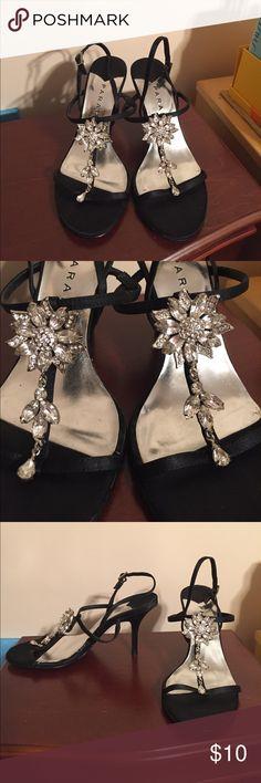 "Gorgeous Flower Rhinestone Fancy Sandal Heels Gorgeous Flower Rhinestone Fancy Sandal Heels. About 2.5"" Heel. General Signs of Wear. PARADE Shoes"