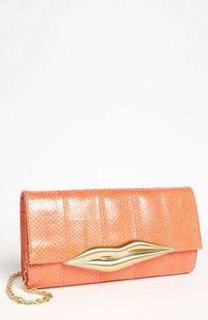 Diane von Furstenberg 'Carolina Lips' Leather & Genuine Snakeskin Clutch available at Nordstrom