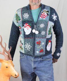 Ugly Christmas Sweater M size Cheery Snowmen Puckered up Santa Mens Womens Tacky #FashionBug #Cardigan