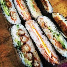 Onigirazu - Japanese Rice Sandwich Better than sushi Sushi Recipes, Asian Recipes, Cooking Recipes, I Love Food, Good Food, Yummy Food, Rice Sandwich, Onigirazu, Korean Food