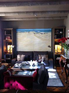 DÍPTICO PLAYA LANZAROTE Flat Screen, Electronics, Canvases, Beach, Pintura, Lanzarote, Blood Plasma, Flatscreen, Dish Display