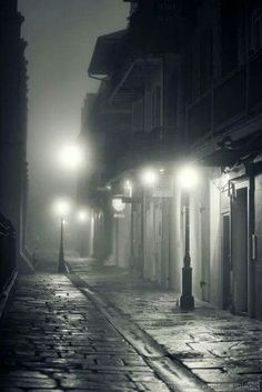Pirates Alley, New Orleans fog. Black White Photos, Black And White Photography, Nocturne, Street Photography, Fog Photography, New Orleans, Mists, Beautiful Places, Scenery
