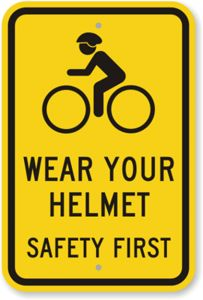 You should always wear a helmet when you ride a bicycle outdoors!  Absolutely no exceptions!!