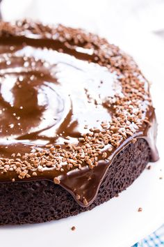 This Chocolate Wacky Cake is a delicious old fashioned one-pan chocolate cake that contains no eggs, butter, or milk! It's totally wacky and vegan too!
