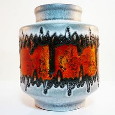 West german pottery  mid century vase by Carstens with FAT LAVA GLAZE