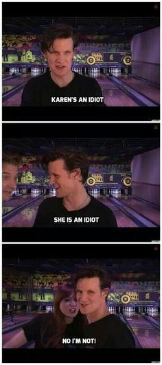 Matt Smith and Arthur Darville on Karen Gillan Doctor Who Funny, Karen Gillan, Amy Pond, Don't Blink, Eleventh Doctor, Matt Smith, Time Lords, David Tennant, Dr Who