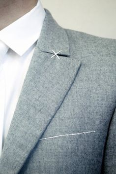 SRULI RECHT, CONSTRICTED ASH SUIT: clean and perfect.