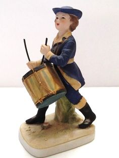 """Antique Lefton American Patriot Colonial Boy Young Man Playing Drum 6"""" Figurine  #Colonial #Lefton"""