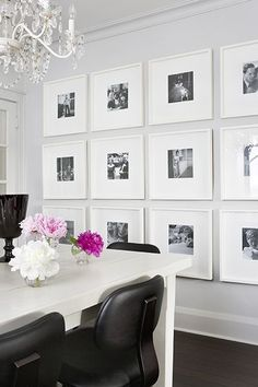 Gallery Wall - Using Ikea frames - doing this in a living room or dinning room - covering all walls with frames Ikea Frames, Wood Frames, Black Frames, Large Frames, Wall Of Frames, Wall Groupings, Ikea Ribba Frame, Silver Frames, Decoration Inspiration