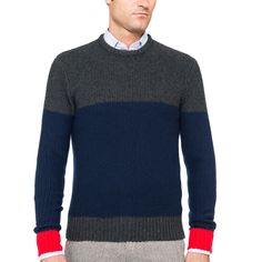 OVADIA AND SONS Textured Block Wool Cashmere Sweater  www.IKKON.com