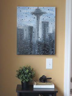 Seattle Skyline Space needle Seattle art Rain art by JQuickArt, $375.00