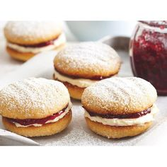 Monte carlo biscuits recipe - By recipes+, These delicious chewy coconut biscuits are a childhood favourite. Filled with cream and raspberry jam, they won't last long! Biscuit Recipe, Cookies Et Biscuits, Easy Biscuits, Homemade Biscuits Recipe, Cream Biscuits, Biscuit Cake, Homemade Breads, Tea Cakes, Monte Carlo Biscuits