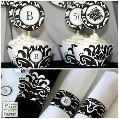 DIY Damask Black and white Party Printables by PressPrintParty, $12.50