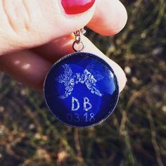 Astrological sign necklace Blue filigree pendant Glass by IceWorks