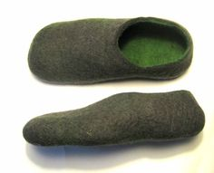 Felted Mens Slippers - Gray Green - Wool Boots - Mens Shoes - Minimalist Shoes - Rubber Soles - Wool Felt Slippers - Personalized Gifts