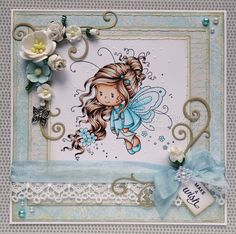 Girly fairy card in shades of aqua (image from Wee stamps) Copic colours; Skin: E000/00/21/11/04 & R20 Hair: E21/25/29 Dress: B000/00/01/BG53 Darker bands on dress: BG09/57/53/B01 Wings: B0000/000/00/01/BG53 Flowers: B000/01/BG53 Envelope: W00/1/3