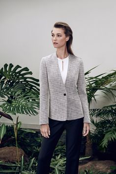 Redefined Monochrome | A collarless blazer feels smart but equally effortless. Lightly structured with a birdseye weave through the fabric, wear buttoned up over a bib front shirt and trousers.