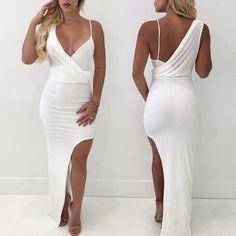 Stylish Deep V High Slit Bodycon Dress