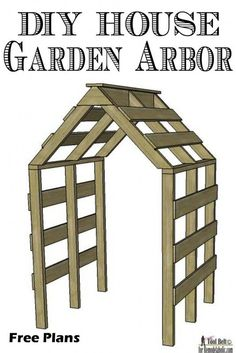 The cutest garden arbor EVER! This little house-shaped arbor structure will be magical as a trellis, too -- and perfect for along a walkway path
