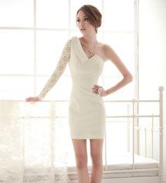 Stylish Asymmetrical One Shoulder Lace Dress