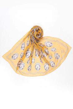 Alexander McQueen Printed Scarf In Mustard And Gray  saw this an thought of you @Chelsea Ramage