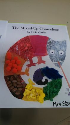 Mixed-Up Chameleon Craft. We used different textures for the different colors. This is a great activity for using fine motor skills.