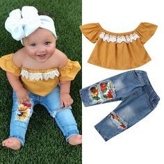 Looking for cute baby girls clothes?. Buy this Cute Baby Girl Set - Jean Pants and Top. She will love it!!! Follow us @jfjtshopping 👌 Tag parents 👨👩👧👦 Tag friends😊 Visit us at www.jfjtshopping.com  #babygirls #childrenclothes #childrenclothesshop #kidsclothings #kidsclothes #babyclothing #babyclothes #ropadeniñas #ropadeniña Denim Pants Outfit, Shorts, Jeans Pants, Baby Girl Romper, Baby Girl Newborn, Baby Girls, Kids Girls, Toddler Girls, Kids Outfits Girls