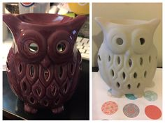 Upcycled owl. Tea light wax warmer turned owl key/change/ring dish. Chalk paint makeover.