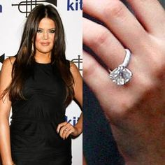 Khloe Kardashian chose this nine-carat radiant cut diamond on a pave band by Vartan's Fine Jewelry. She married Lamar Odom after one month of dating.
