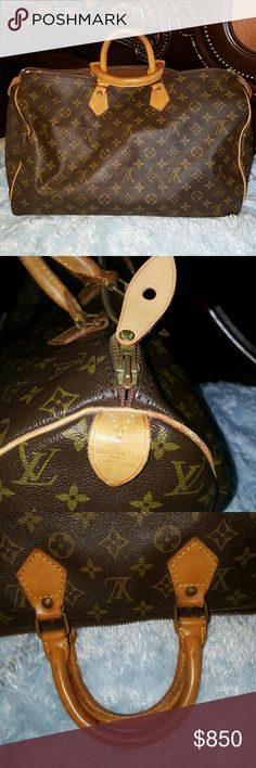 Authentic  Vintage  Speedy  40 Does not have  a serial number  or inside pocket due to age. It's absolutely  authentic  pull tab was recently  replaced at lv store  by original  owener. Louis Vuitton Bags