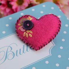 'Heart-Felt' - Little felt and button brooch - fuschia - FREE UK P £4.75 - now SOLD