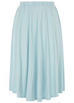 Pale blue flared skirt in 100% Fairtrade certified organic cotton with gathered, elasticated waist. Comes to just below the knee. Also available in navy. Length 61cm.