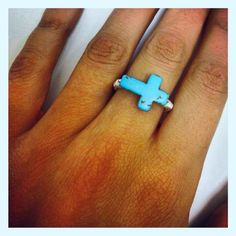 Wire Wrapped Turquoise Cross Ring-gimmeeee