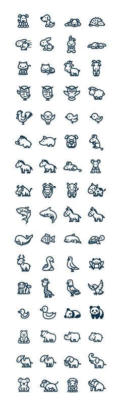 Best Tiny Tattoo Idea - Nice ** Cute and easy vectorial animal icons....... Check more at https://tattooviral.com/tattoo-designs/small-tattoos/tiny-tattoo-idea-nice-cute-and-easy-vectorial-animal-icons/