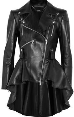 Biker fashions. Disclosure: I'm an affiliate marketer. When you click on the link to the retailer, I earn a commission. Alexander McQueen - Leather Peplum Biker Jacket - Black
